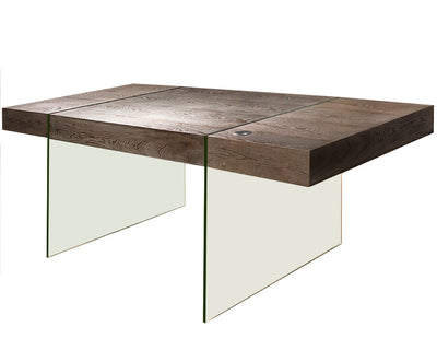 Elegant Modern Washed Gray Office Desk with Clear Glass Legs