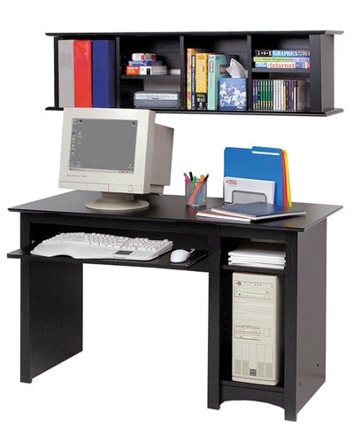 "Compact 48"" Black Computer Desk with Keyboard Tray"