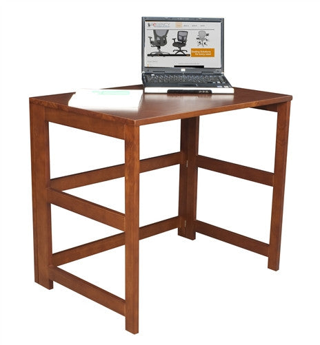 Solid Wood Folding Compact Desk in Cherry with Optional Bookcase