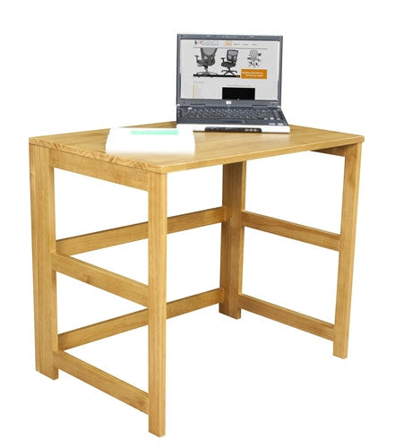 Solid Wood Folding Compact Desk in Medium Oak with Optional Bookcase