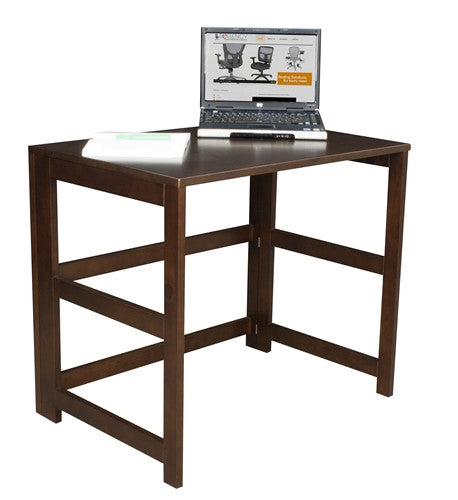 Solid Wood Folding Compact Desk in Mocha Walnut with Optional Bookcase
