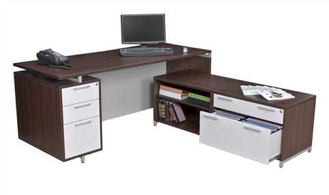 OneDesk Collection L-shaped Corner Desk with Low Credenza