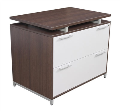 OneDesk Collection L Shaped Corner Desk With Low Credenza