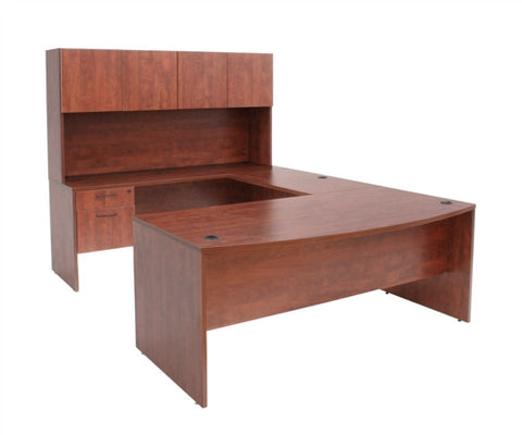 Sandia Collection U-shaped Workstation with Hutch in Cherry