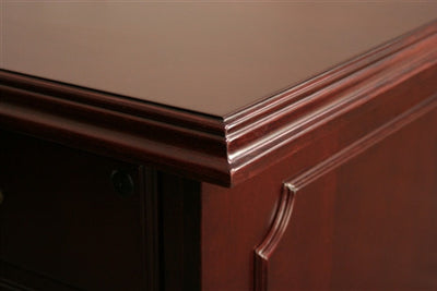 Prestige L-shaped Corner Veneer Desk in Mahogany