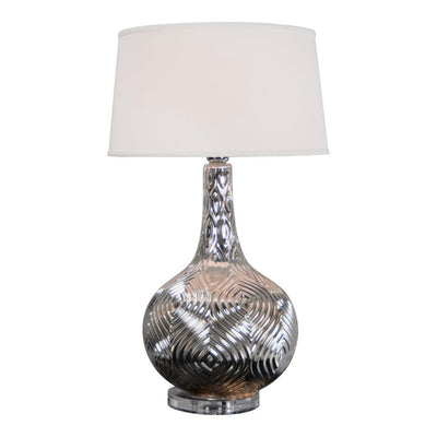Shining Silver Lamp w/ Ornate Detailing on Base