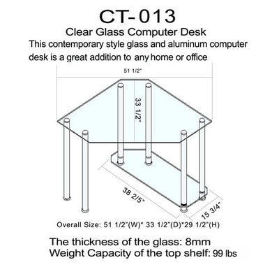 Clear Tempered Glass Corner Computer Desk