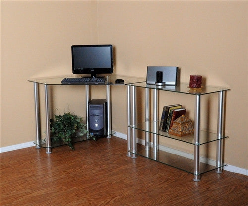 Modern Clear Glass Corner Desk with Extension