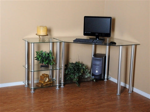 "Clear Tempered Glass Corner Desk with 20"" Extension"