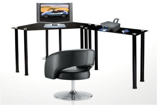 L-Shaped Black Glass Desk with CPU Stand