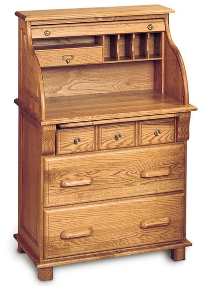 Handcrafted Solid Wood Rolltop Workstation with Hutch