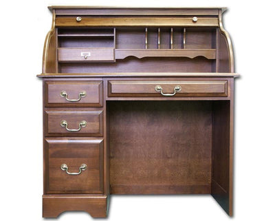"Solid Cherry 42"" Single Pedestal Rolltop Writing Desk"