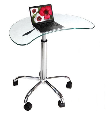 Glass Laptop Stand with Metal Frame