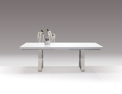 "White Lacquer & Chrome Modern Conference Table (94"" - 134"" W)"