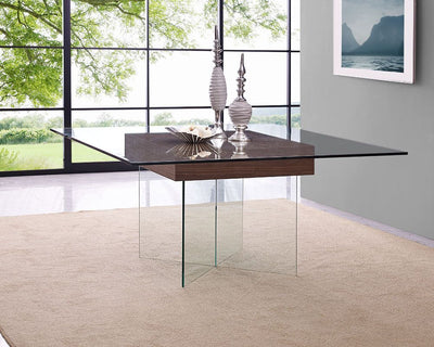 "63"" Square Clear Glass Meeting Table with Walnut Center"