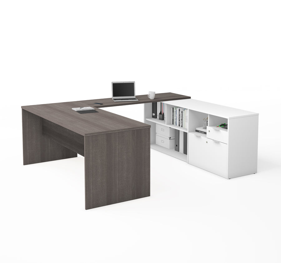 Modern U Shaped Office Desk In Bark Grey With White Credenza