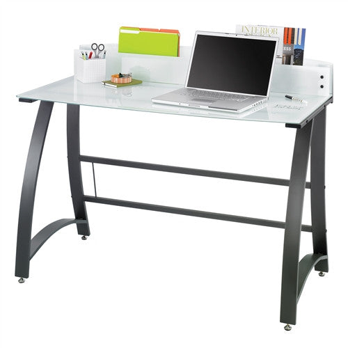 "47"" White Tempered Glass Desk with Storage & Optional Keyboard Shelf"