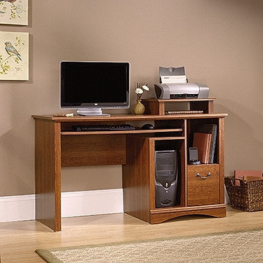 "Planked Cherry 53"" Computer Desk with File Drawer"