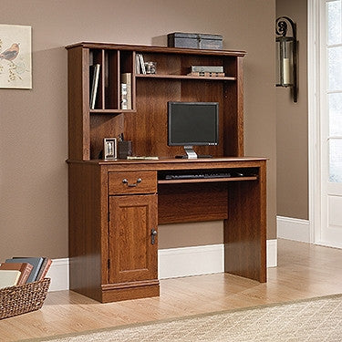 "Contemporary 44"" Computer Desk with Hutch in Planked Cherry"