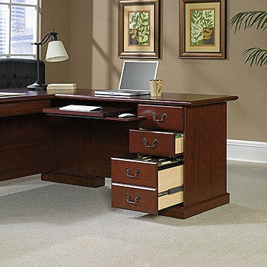 Classic Cherry Double Pedestal L-shaped Desk