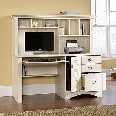 "Contemporary 62"" Antiqued White Computer Desk with Hutch"