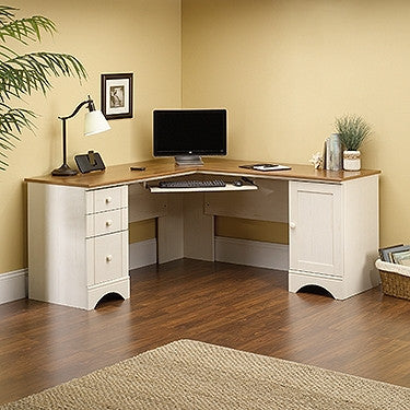 White Antiqued L-shaped Corner Desk