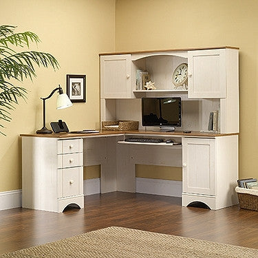 White Antiqued L-shaped Corner Desk with Included Hutch