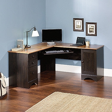 Black Antiqued L-shaped Corner Desk