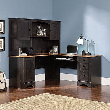 Black Antiqued L-shaped Corner Desk with Included Hutch