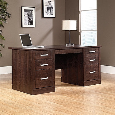 "65"" Modern Double Pedestal Executive Desk in Dark Alder"