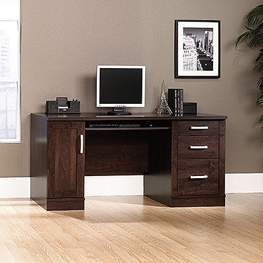 "Modern 59"" Computer Desk with CPU Cabinet in Dark Alder"
