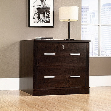 "Modern 59"" Desk with Hutch with Glass Doors in Dark Alder"