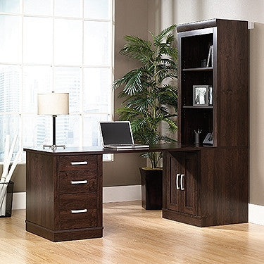 Modern Executive Desk with Integrated Bookcase in Dark Alder
