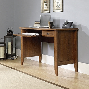 "Sleek 47"" Computer Desk with Keyboard Tray in Oiled Oak Finish"