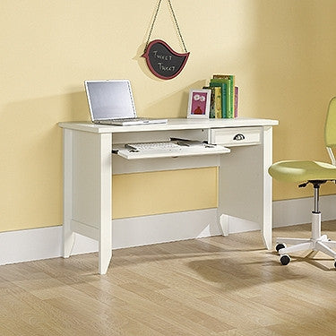 "Sleek 47"" Computer Desk with Keyboard Tray in Soft White"