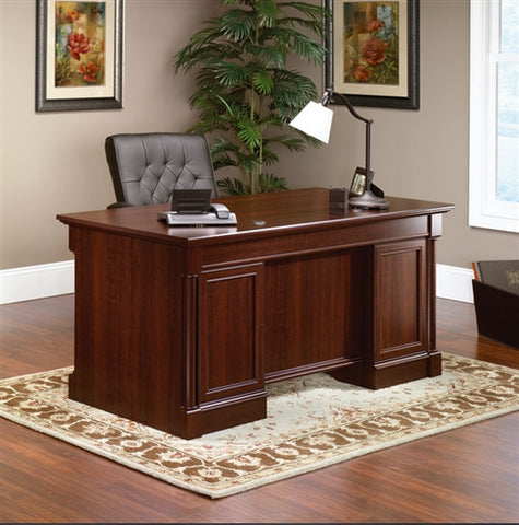 "Vanguard Collection 65"" Modern Executive Desk in Select Cherry"