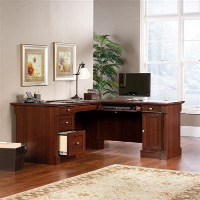 Modern L-Shaped Office Desk in Select Cherry Finish