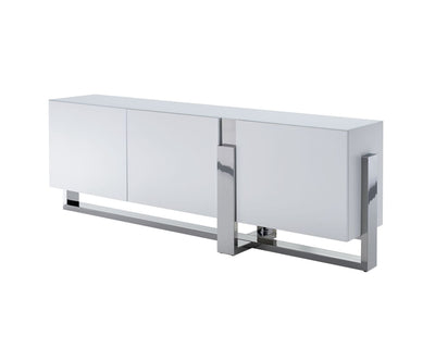 "91"" Elegant White Storage Credenza w/ Stainless Steel Accents"