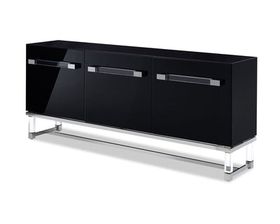 Classic Black Storage Credenza w/ Polished Stainless Steel