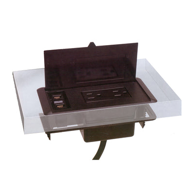 Boat Style Conference Table in Gray with Power Modules (width of 8', 10', or 12')