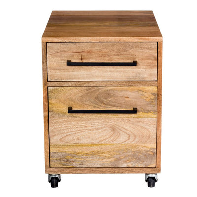 Solid Mango Wood Two Drawer Mobile File Cabinet