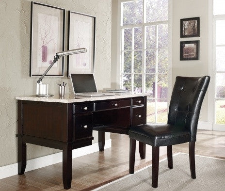 "Monarch 52"" Executive Wood Desk with White Marble Top"