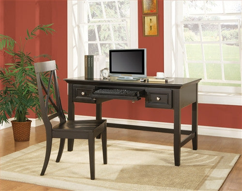 "Lawson Solid Wood & Veneer 54"" Writing Desk in Black"