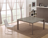 "Modern 55"" Square Desk or Meeting Table with Taupe Frame & Glass Top"