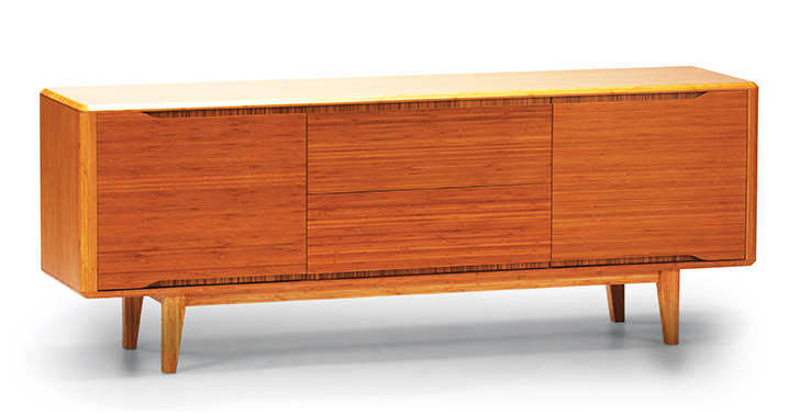 "Solid Bamboo 72"" Elegant Credenza in Caramel Finish"