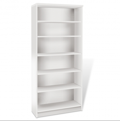 "72"" Five Shelf Modern White Bookcase"