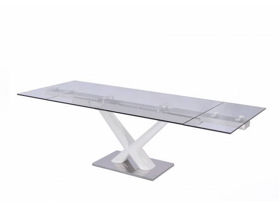 "Modern Glass & White Lacquer Conference Table or Executive Desk (Extends from 67"" W to 102"" W)"
