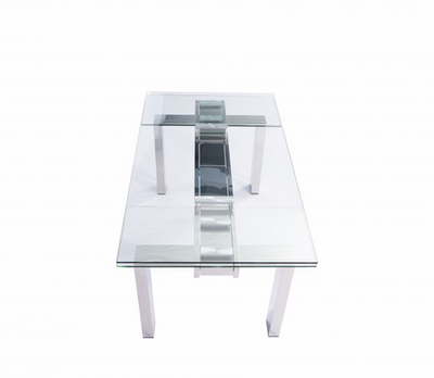 "Modern Stainless & Clear Glass Conference Table or Desk (Extends from 63"" W to 98"" W)"