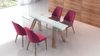 "Modern Glass Extension Conference Table with Angled Walnut Legs (71"" - 102"" W)"