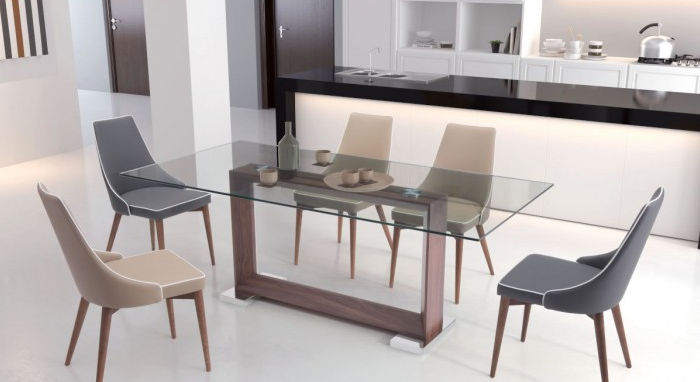 Glass Conference Table Or Desk With Squared Walnut Frame - Cheap conference table chairs